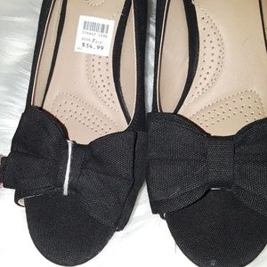 Deflex Comfort Shoes - Dexflex Comfort Cate Bow Peep Toe Canvas Wedge NWT